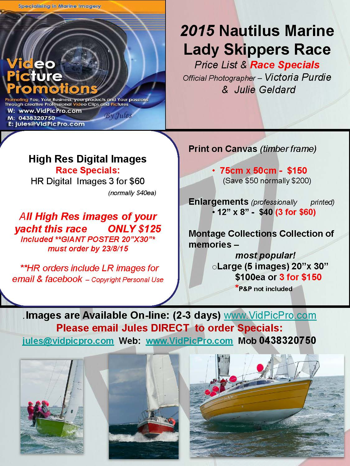 Nautilus Marine Lady Skippers Race Specials 2015 Julie Geldard